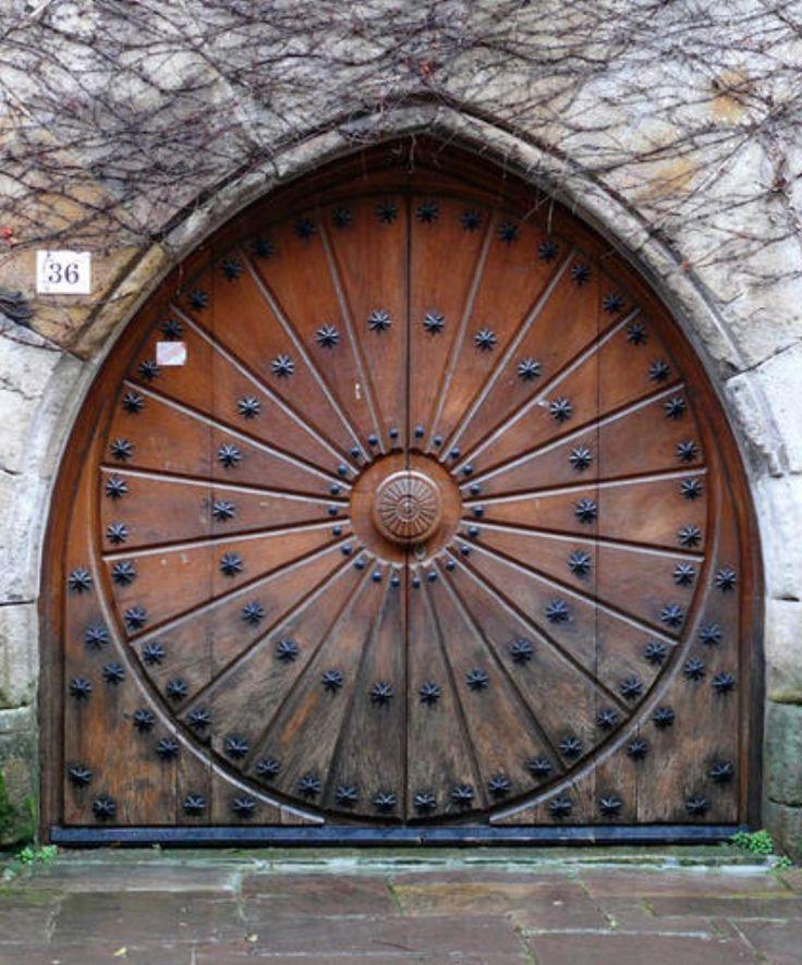 carved circular door
