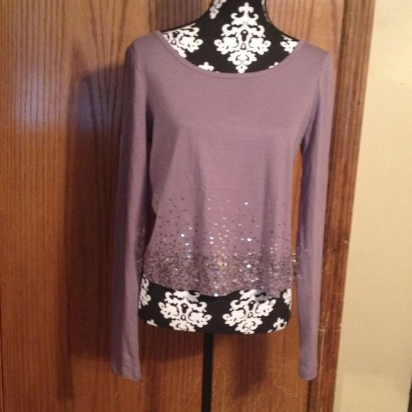 Shirt Lavender shirt with sequins at the bottom.  Worn once! Tops