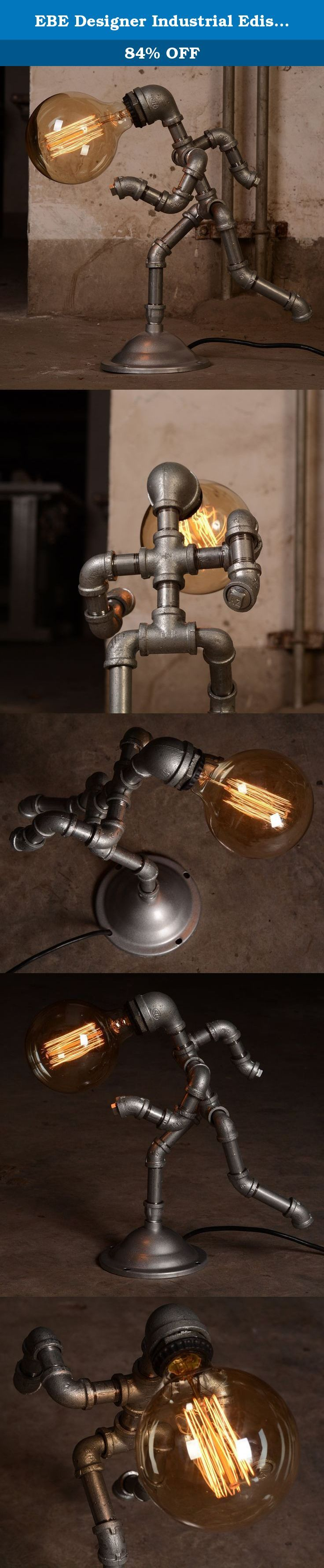 EBE Designer Industrial Edison Vintage Style Running Man Rustic Water Pipe Table Lamp Bedside (Silver). Unique Running Man water piping lamp, perfect for comic fans or retro steampunk collectors. 40w lighting is bright enough to light surrounding area yet not overpowering on the eyes. This lamp can accommodate any standard E26/E27 lightbulb of your choice ( LED, Halogen or Edison bulb ).