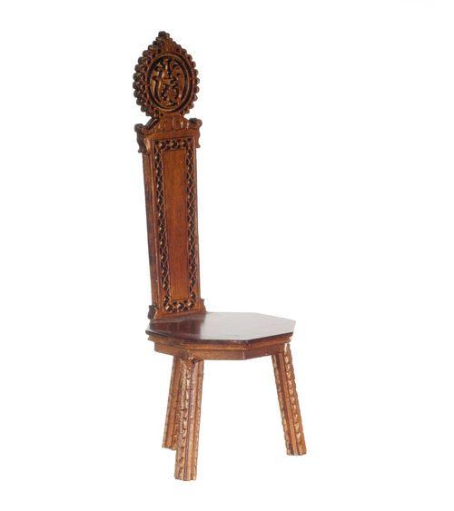 Burmese Spoon-Back Nursery Chair Walnut - 1:12 Scale #PlatinumCollection