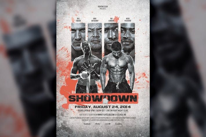 Mma Boxing Showdown Fighting Club Flyer Template Poster Night