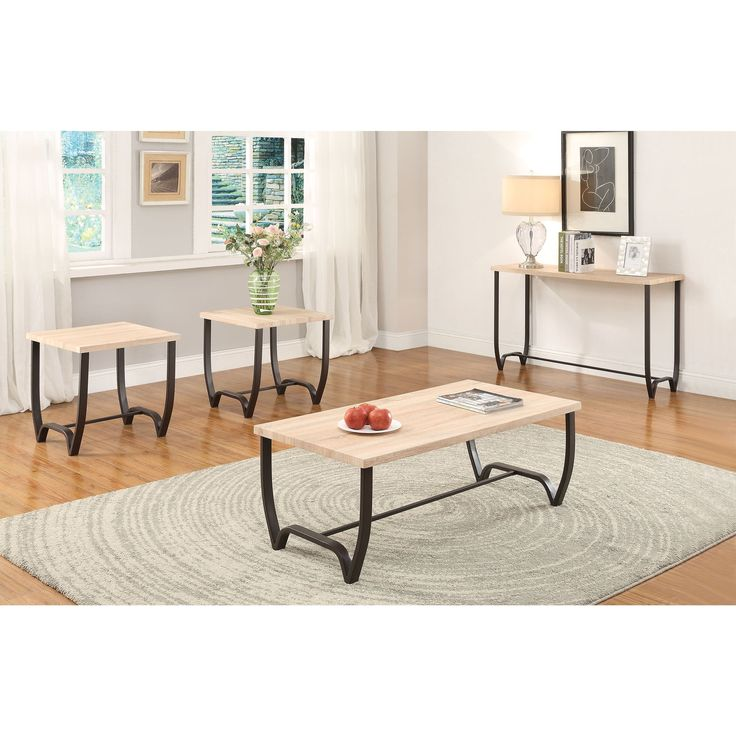 Isidore 3 Piece Coffee And End Table Set Natural & Brown Sand 3Pc