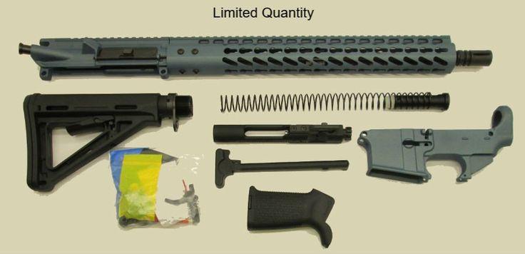 """Titanium Blue 16"""" AR15 Kit with 15"""" Slim Keymod with Lower"""