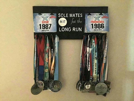 Running Race Bib Medal Display Holder Sole Mates Solemates Soulmates Personal Record, Runner Runners Inspirational Race Hook 5k 10k Marathon