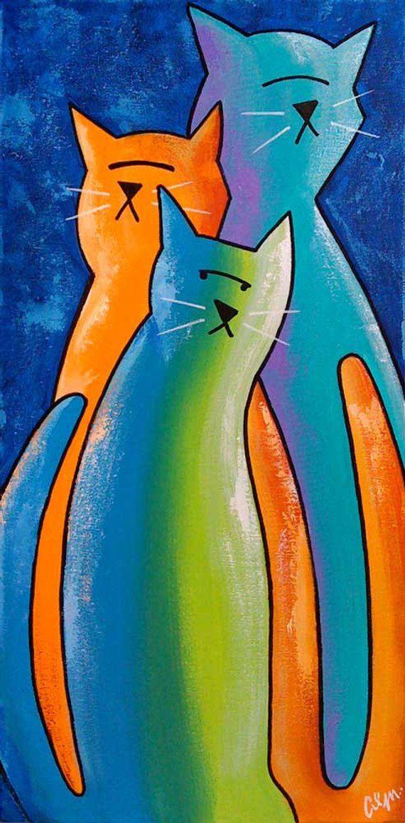 Original Painting by S Barratt Cats White Ltd Edition Canvas Fine Art Print