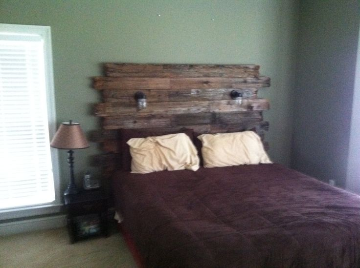 Rustic Barnwood headboard with reading lights by Hammernheel, $600.00 ...