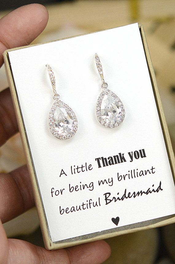 Wedding Jewelry Bridesmaid Gift Bridesmaid Jewelry Bridal Jewelry tear Drop Earrings Cubic Zirconia dangle Earrings,bridesmaid gifts