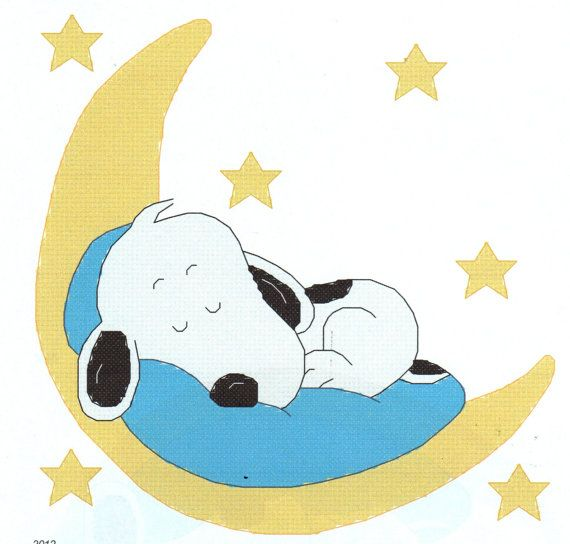 Baby Snoopy Sleeping on the Moon Cross Stitch Pattern by gotttwo, $3.40