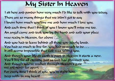 Missing My Sister In Heaven   Latest Blog Entries