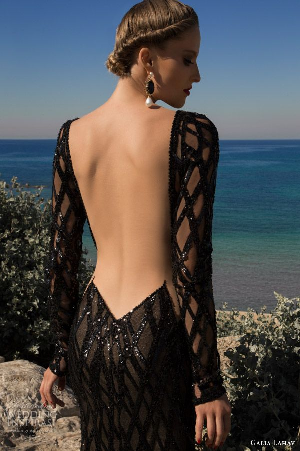galia lahav 2014 moonstruck meteor black dress long sleeves back view illusion