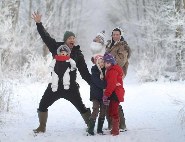 happy family in the snow...