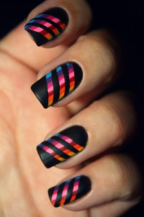 .: Nails Art, Cute Nails, Nails Design, Black Nails, Matte Black, Nails Polish, Stripes Nails, Nails Idea, Rainbows Nails