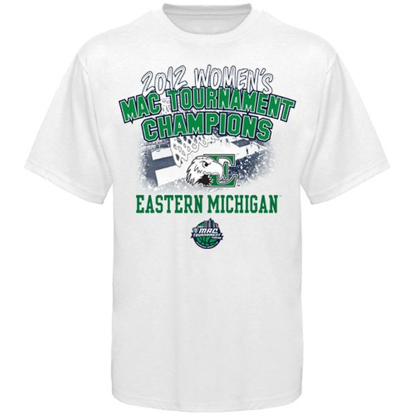Eastern Michigan Eagles 2012 MAC Women's Basketball Tournament Champions Locker Room T-Shirt - White - $18.99
