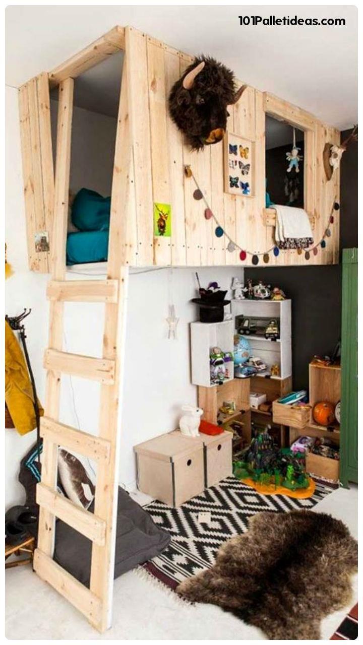 Best 25 pallet loft bed ideas on pinterest kids pallet for Kids pallet bed