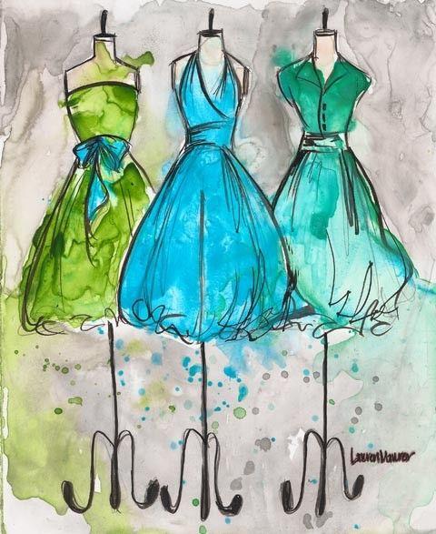 Print - Watercolor and Ink - Vintage Dress Painting - Vintage Aqua Trio - 8x10. $20.00, via Etsy.