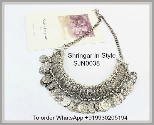 SJN0038 - Antique Silver Coins Decorated Tassel Design Alloy Korean Necklaces. Price INR 650. Free shipping in India. International shipping at actuals. To order WhatsApp+919930205194