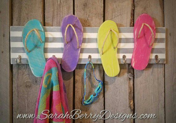 05706b1c62718 Flip Flop towel rack - Beach decor - Lake decor - Flip Flops - Beach Bum -  Gifts for Her - Beach towel holder - housewarming gifts-lake girl