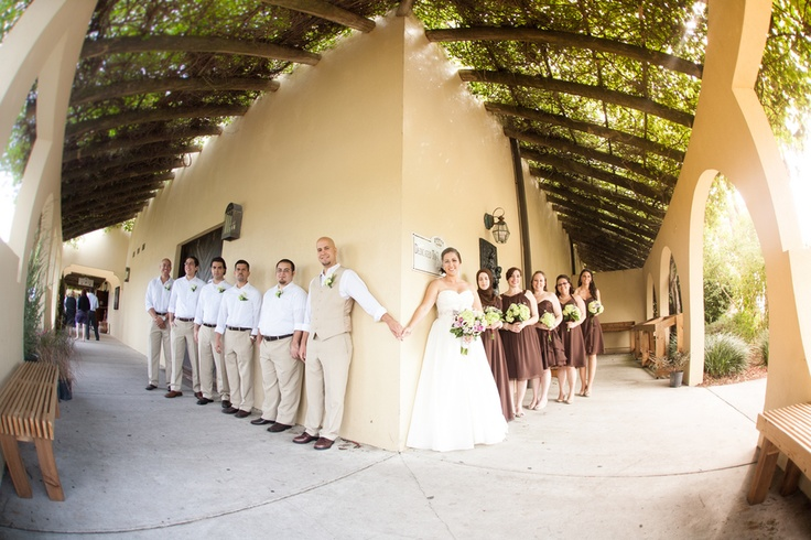 LOVE this- the bride and groom holding hands (without seeing each other) before the ceremony w/ their attendants on each side! Adorable! Bonnie & Eddie: Florida Lakeridge Winery Wedding