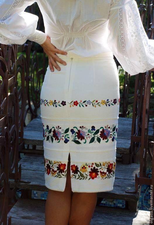 Slavic Ethereal || Embroidered pencil skirt