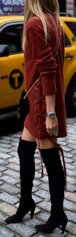#fall #musthave #trends | Lace up Sweater Dress + Overknees