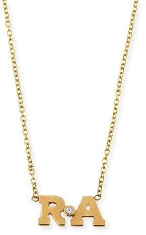 Zoe Chicco Two-Letter Pendant Necklace with Diamond