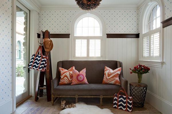 Wonderful Small Home Design with Cozy Atmosphere and Stylish Look: Small Entrance Hall With Colorful Couch And Stylish Coat Rack ~ anahitafurniture.com House Design Inspiration
