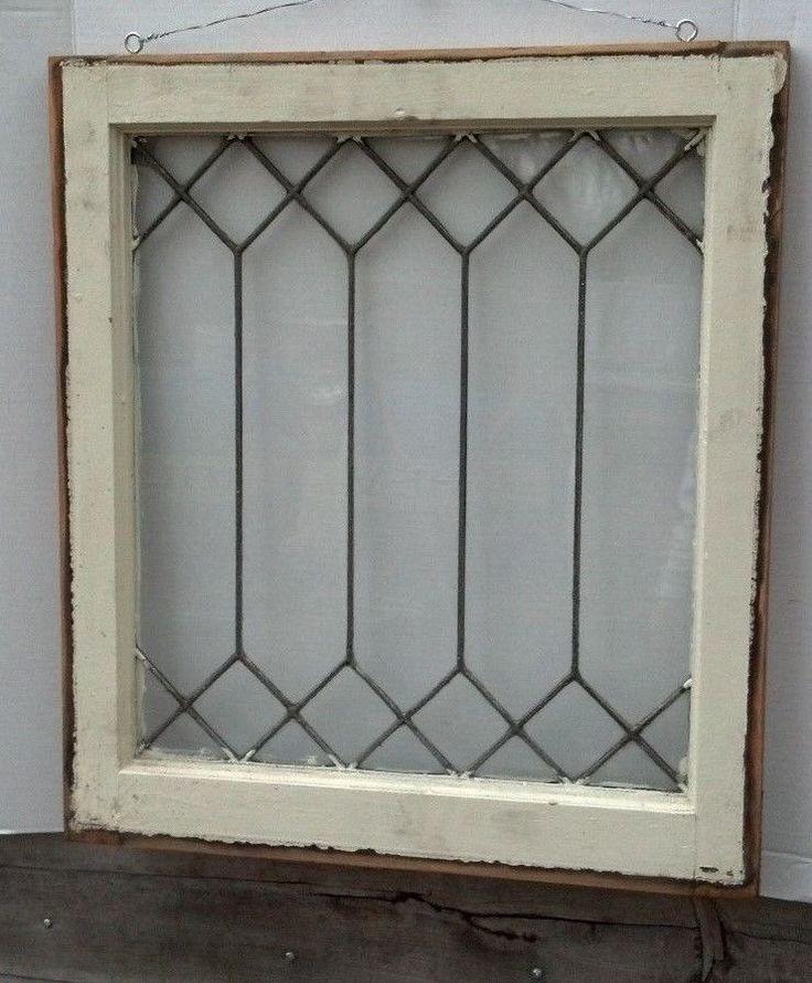 Old Leaded Glass Windows : C leaded glass window reclaimed old antique diamond