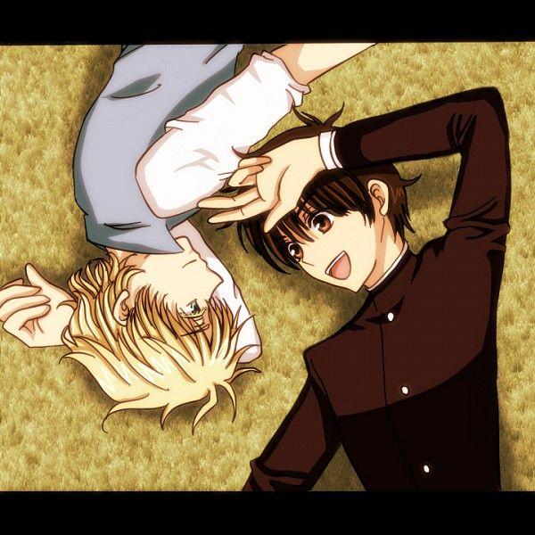 Tags: Anime, Kyo Kara Maoh!, Wolfram von Bielefeld, Shibuya Yuri, Gakuran, Laying on Back