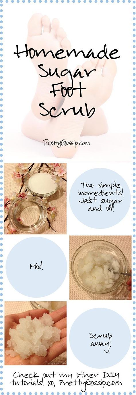 PIngredients for 1 use: 1/2 cup of oil (baby or olive oil) and 1 cup of sugar.  Directions: Combine ingredients and mix well with a spoon. Use the scrub in the shower, rinse well, and pat dry. Pay special attention to dry, cracked heels. The sugar will scrub away dead skin cells and the oil will clean and moisturize!
