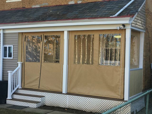 Porch Enclosure Drop Curtains With Clear Vinyl Windows And A