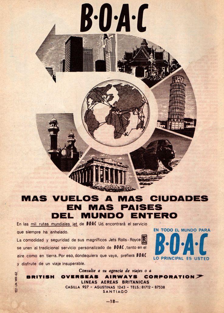 BOAC Más vuelos a más ciudades en más países del mundo entero. British Overseas Airways Corporation. Publicado en Revista en Zig Zag, 27 de septiembre 1963.