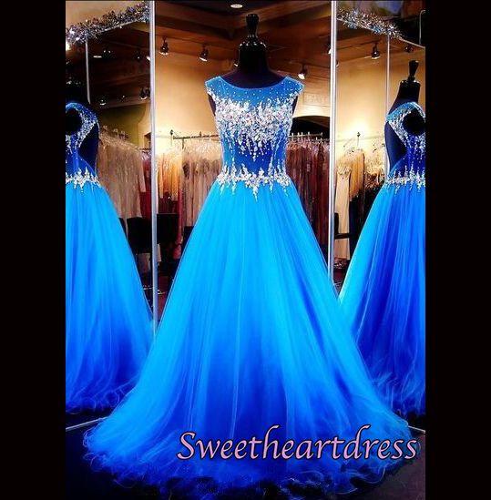 2016 pretty sky blue lace chiffon long prom dress, evening dress for teens, modest prom dress #coniefox #2016prom