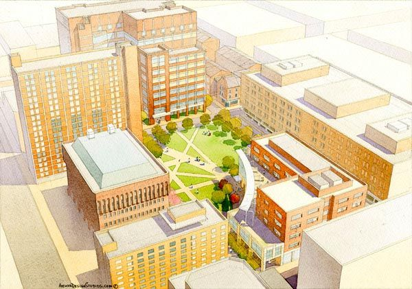 architectural rendering in watercolor - hospital aerial