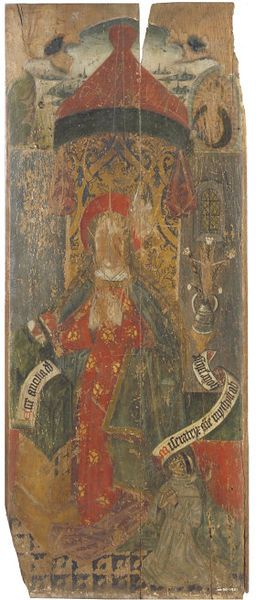 oil painting on panel, probably a section of a rood screen, c.1470-1490. It depicts the Virgin Mary, with smaller figures of Christ on the cross, a dove representing the holy spirit, and in a rayed border a figure of God the Father. the face and hands of the Virgin and these figures of the Three Persons of the Trinity have been gouged off, probably through iconoclasm. The kneeling figure of a grey friar is the donor.
