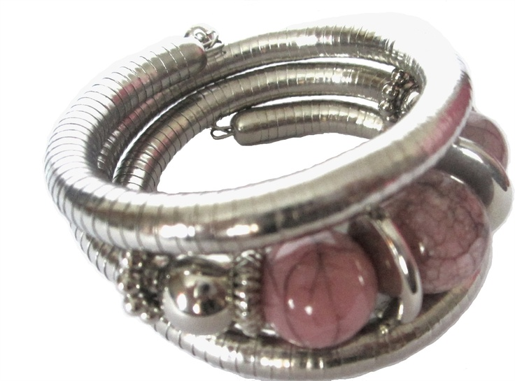 Silver and pink coil bracelet