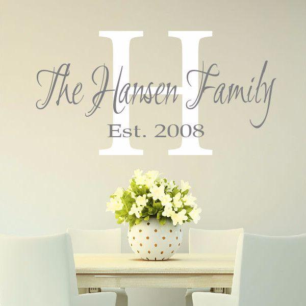 Gorgeous Family Monogram Vinyl Wall Decal – Create & Ship