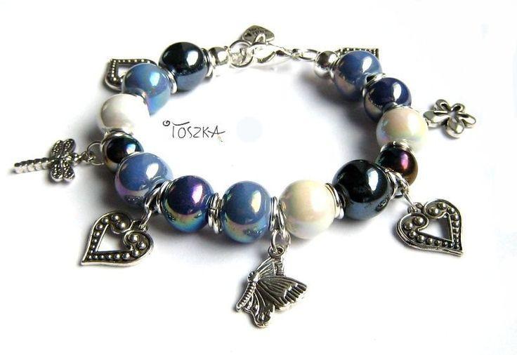 "Beaded ceramic charm bracelet - ""Marina"" by TOSZKA on Etsy"