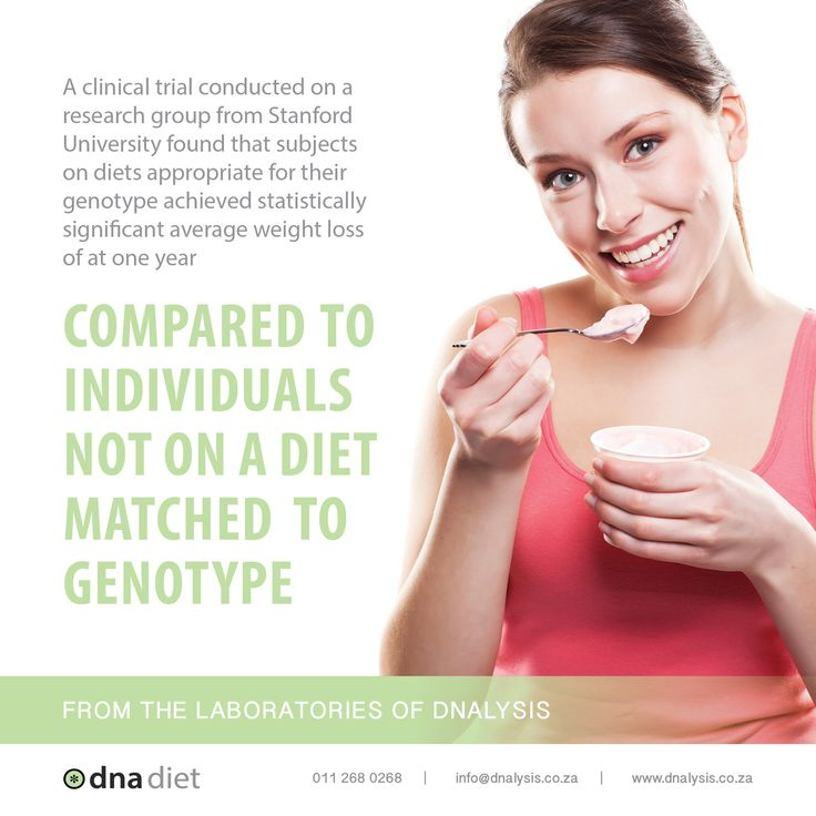 A clinical trial conducted on a research group from Stanford University found that subjects on diets appropriate for their genotype achieved statistically significant average weight loss of  at one year compared to individuals not on a diet matched to genotype.  #dnalysis #dnadiet