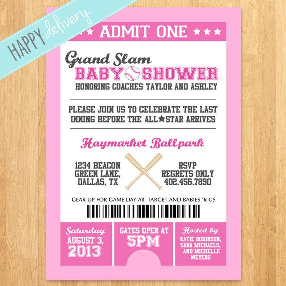 Printable Baseball Baby Shower Invitation Itu0027s A By HappyDelivery