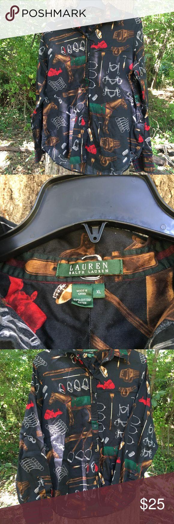 "Lauren Ralph Lauren Women's Equestrian Horse Lauren Ralph Lauren Women's Equestrian Horse Print Button size XL.   23"" armpit to armpit 26"" length 29""x19"" arms Ralph Lauren Tops Button Down Shirts"