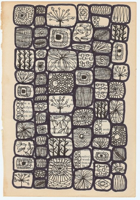 """I love this and its intricacy, as well!   This is a signed, limited-edition matte archival print of an original drawing 'Lives Of A Cell.'  It was done on the page of a vintage botany textbook.  Actual image size is 6.3×9"""" with a white border all around bringing it to 8×10"""".) ★"""