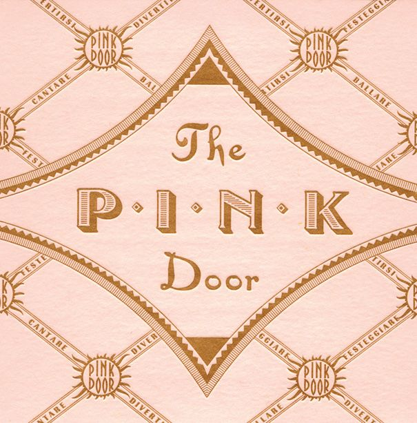 The Pink Door label by Louise Fili Ltd, reminiscent of 1930s pasticceria papers from Italy
