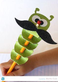 Silhouette America Blog | Inchworm Pencil Topper | Fun for kids/school vielleicht auch als Einschulungsgeschenk