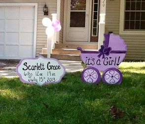 Instead of the traditional stork, order a CUSTOM Birth Announcement Yard Piece by Yard Parts by Marts. Then when you are done using it in the yard, you can use it in the #nursery ! #BirthAnnoucement #Stork #Baby Arrival