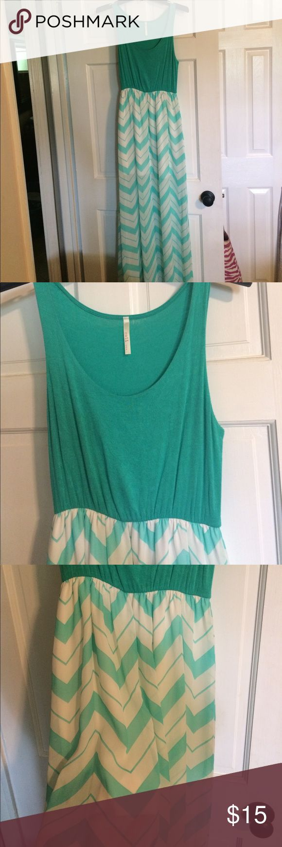 Turquoise Chevron Maxi Turquoise and white Chevron maxi dress. Top is soft cotton material and bottom is semi sheer and flows. Dress has slip that hits mid thigh. Super cute on. Size med. Dresses Maxi