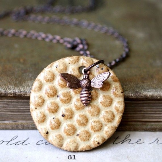 Bees Knees ceramic #necklace #etsy #gift $20.00