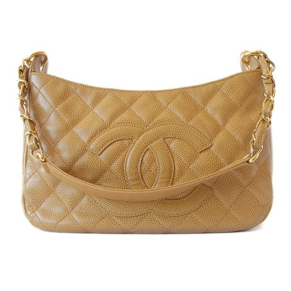 Chanel Caviar Quilted Shoulder Bag Beige