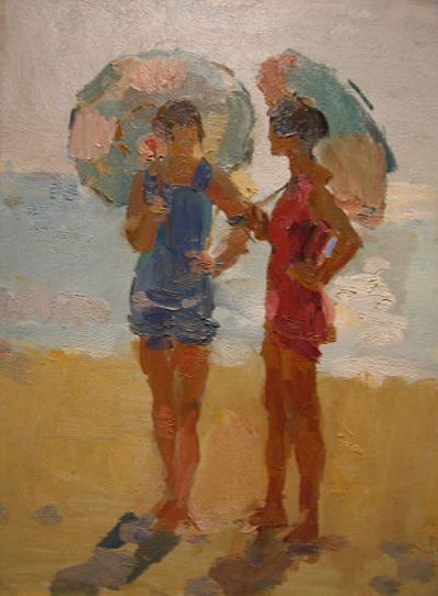 Ladies with parasols on the beach, by Isaac Israels (Dutch, 1865-1934)