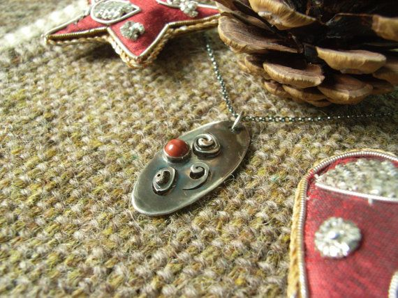 Silver Spiral/Oval Pendant with 5mm Red by CallumKiltsJewellery