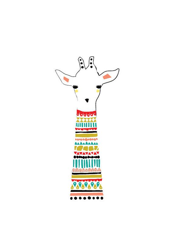 Girafe Art Print Illustration de l'Animal dessin par dekanimal
